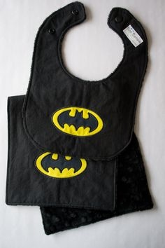 Batman Inspired Baby Bib & Burp Cloth Super by BittiBottomDesigns, $18.00