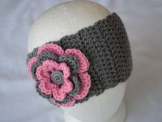 Grey / Pink Adorable Crochet Head Band Ear Warmer by LittleMissyMe, $15.75