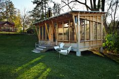 Prarie Meets Pampa Pavilion - rustic - Porch - Minneapolis - M Valdes Architects PLLC With a space heater for the winter, this would make a great artist studio in the back yard. Cabin Design, House Design, Garden Design, Tiny Studio Apartments, Pergola, Wooden Gazebo, Backyard Retreat, Backyard Pavilion, Backyard Office