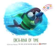 Daily Paint 1467. Orca-rina of Time by Cryptid-Creations.deviantart.com on @DeviantArt