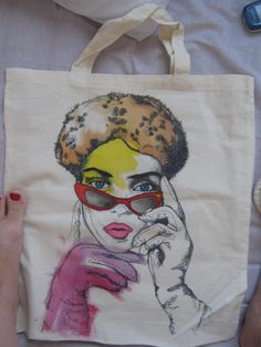 hand painted hand bag