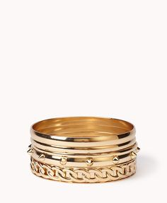 Spike & Chain Bangle Set | Forever 21 - 1027705036