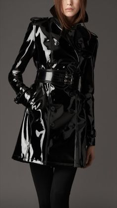 Burberry Patent black trench
