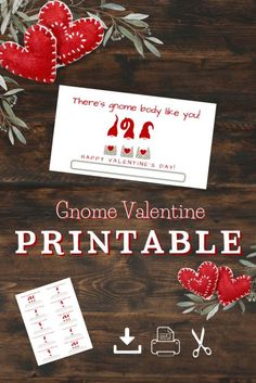 Download these print ready valentines featuring adorable gnome puns. Were you as enchanted by seeing all the gnomes this past season as I was? If so you'll want to check out these gnome valentines … Valentines Day Activities, Valentine Day Crafts, Activities For Kids, Crafts For Kids, Diy Crafts, Valentine Cards, Classroom Treats, Valentine's Day Printables, Halloween