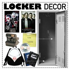 """Locker Decorations"" by krissslyn ❤ liked on Polyvore featuring interior, interiors, interior design, home, home decor, interior decorating, Valor, Polaroid, Mead and Sharpie"