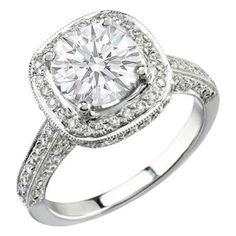 Antique Style Round Diamond Halo Engagement Ring 1.10 tcw.