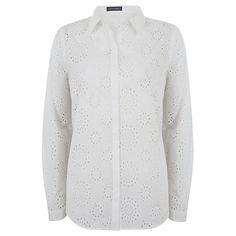 Buy Mint Velvet Broderais Cotton Shirt, Ivory Online at johnlewis.com
