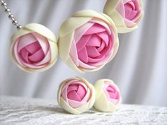 Polymer clay jewelry set pink/Light by KaoriPearlRose on Etsy