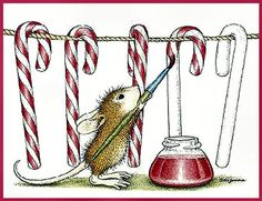 House Mouse Christmas painting candy canes More