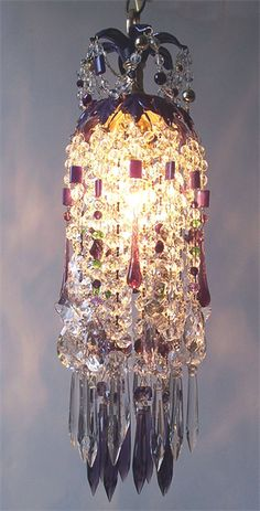 Purple Passion Waterfall Crystal Chandelier
