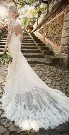 sophisticated lace wedding dresses with illusion long sleeves and keyhole back from essense of australia for 2016