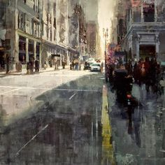 "The painter Jeremy Mann made oil paintings of the city for his series ""Cityscapes"". The paintings are focused especially on the city at night, with Urban Landscape, Landscape Art, Landscape Paintings, Oil Paintings, Original Paintings, Urban Painting, City Painting, Ville New York, City Illustration"