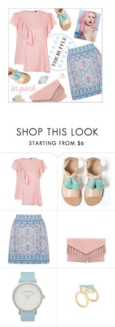 """""""The ruffle"""" by rose-levitt ❤ liked on Polyvore featuring Topshop, Zara, Oasis, LULUS, Barneys New York, The Horse, summerstyle and ruffles"""