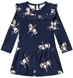 MonnaLisa Navy Horse Print Frill Detail Milano Dress