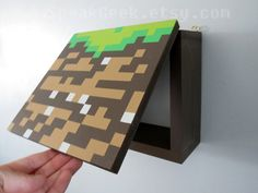 *****This is a MADE TO ORDER item. Please allow up to 2-3 weeks for this to be made before it is shipped.*****  A Minecraft Dirt block shelf will be a