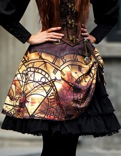 Fanplusfriend Lady's Beyond the End of Time Series Steampunk Large Theme Prints High Waist 2-Way Knee Length Skirt