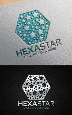 Hexa Star Logo Logo Design Template, Custom Logo Design, Custom Logos, Logo Templates, Logan, Writer Logo, Property Logo, Letter M Logo, Entertainment Logo