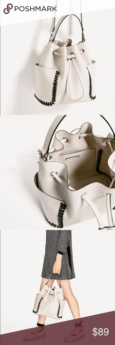 Zara bucket bag with contrast details Love stitching contrast... neutral colors to work for any outfit and roomy to fit all day essentials Zara Bags