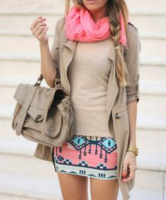 pink pashmina + taupe jacket + taupe sweater + pink and blue tribal miniskirt + taupe bag + casual braided hair
