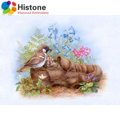 5D diy diamond painting animal Full round rhinestone diamond mosaic embroidery Birds and shoes embroidery home decor 70362 #Affiliate