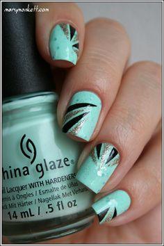 Bleu noir et argent Pretty Nail Art, Cool Nail Art, Shellac Nails, Nail Polish, Diamante Nails, Nagel Hacks, Nail Design Video, Healthy Nails, Hot Nails