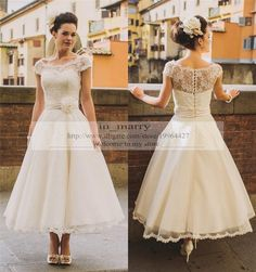 Tea Length Vintage Lace Plus Size Wedding Dresses 2016 A Line Scoop Cap Sleeves Arabic Country Rustic Wedding Gowns Bridal Dresses Flowers