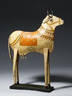 Indian Painted Metal Cow Folk Art Sculpture