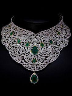 510530ca4 Náhrdelník - diamantový se zelenými rubíny Diamond Jewelry, Diamond  Jewellery Indian, Diamond Choker,