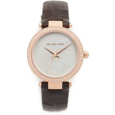 Michael Kors Mini Parker Watch ($225) ❤ liked on Polyvore featuring jewelry, watches, michael kors, leather band watches, michael kors jewelry, water resistant watches and logo watches