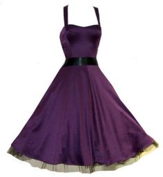 1940 1950 Style Dresses   Ladies 1940's 1950's Vintage Style Purple Silky Satin Halterneck Party ... this color - much more appropriate than black, but the two styles are my favorites.