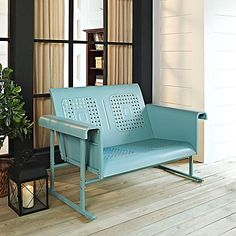 Crosley Veranda 52 in. Metal Loveseat Glider - Perfect for retro-loving balconies or vintage-inspired porches, the Crosley Veranda 42 in. Metal Loveseat Glider - Caribbean Blue is an authentic recreation. Outdoor Loveseat, Outdoor Seating, Outdoor Chairs, Outdoor Decor, Outdoor Living, Outdoor Spaces, Outdoor Fun, Lawn Chairs, Outdoor Ideas