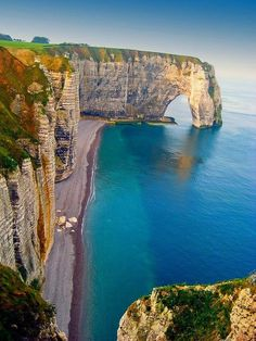 """""""Sea Cliffs, Etretat, France - The 100 Most Beautiful and Breathtaking Places in the World in Pictures."""" I had a dumbass art teacher tell me that cliffs are NEVER along the beach! Vacation Destinations, Vacation Trips, Dream Vacations, Vacation Spots, Etretat Normandie, Etretat France, Places Around The World, The Places Youll Go, Places To See"""