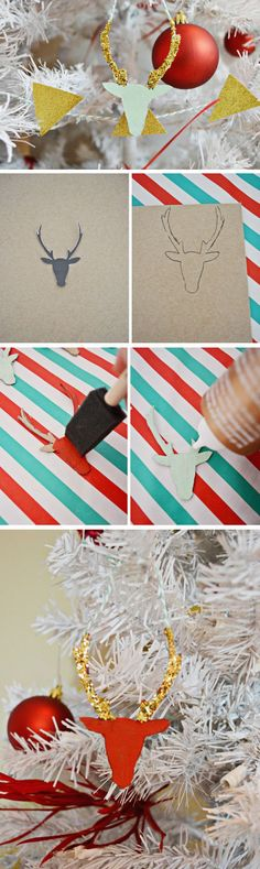 Glitter Deers | 30+ DIY Christmas Crafts for Kids to Make