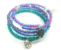 Blue Beaded Bracelet Purple Green Coil by  RandRsWristCandy on Etsy $14
