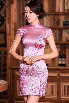Retro Pink Real Silk Floral Print Qipao Day Dress - iDreamMart.com