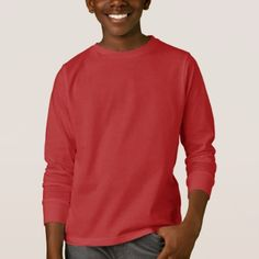 Dark Red Boys Long Sleeve T-Shirt - red gifts color style cyo diy personalize unique