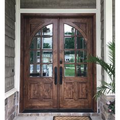 """This beatiful Highlands double entry door is available in mahogany or knotty alder The Highlands is a True Divided Lite (TDL) entry door with clear bevel or flemish Low-E glass. Available in 5'0"""", 5'4"""", and 6'0"""" X 8'0"""" sizes. #wooddoors #frontdoors #entrydoors #doubledoors #farmhousestyle #knottyalderdoors #mahoganydoors #customdoors #doorsformyhome Double Doors Exterior, Double Front Entry Doors, Wood Exterior Door, Wood Front Doors, Front Door Design Wood, Fromt Doors, Unique Front Doors, Beautiful Front Doors, Double Door Design"""