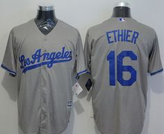 Dodgers #16 Andre Ethier Grey New Cool Base Stitched MLB Jersey
