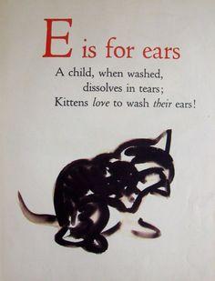 1946 ABC Alphabet Print Letter E Print Kitten Cat Print Childrens Decor 1688