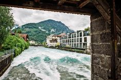 The river that joins the two lakes in #Interlaken, #Switzerland