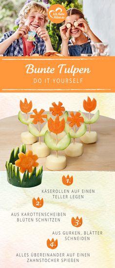 Diese bunten Käse-Tulpen bringen Leben auf den Esstisch.