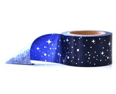 Silver Foil Blue Starry Sky Washi Tape | Wide 25mm Paper Tape | Japanese Washi Paper