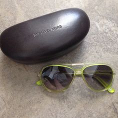 Michael Kors Caicos Lime Aviators I love these..and still hard to part with!! Michael Kors Caicos Aviators in lime green! 100% authentic. In great condition as seen in picture. Comes with case. These are just too cool. Price is firm. Accessories Sunglasses