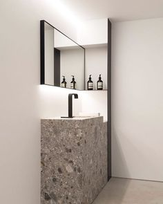 a grey and white terrazzo sink and sink stand for a minimalist bathroom - Shelte.- a grey and white terrazzo sink and sink stand for a minimalist bathroom – Shelte… a grey and white terrazzo sink and sink stand for a… - Minimalist Bathroom, Modern Bathroom, Small Bathroom, Bathroom Ideas, Half Bathrooms, Mirror Bathroom, Diy Mirror, Bathroom Vanities, Bathroom Organization