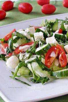 Sałatka z rukoli i sera - Wiem co jem Caprese Salad, Menu, Food And Drink, Vegetables, Cooking, Health, Impreza, Salads, Diets