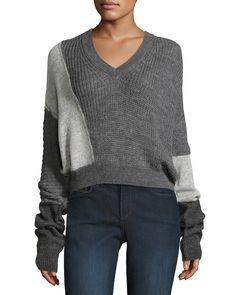McQ Alexander McQueen Patched V-Neck Long-Sleeve Cable-Knit Sweater