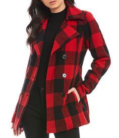 Jou Jou Buffalo Plaid Peacoat Jacket - Red/Black S Flannel Jacket, Plaid Coat, Plaid Blazer, Red And Black Plaid, Red Plaid, Tartan, Plaid Outfits, Winter Outfits, Plaid Fashion