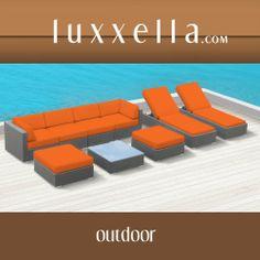 Luxxella Outdoor Patio Wicker BELLA 9 Pc Orange Sofa Sectional Furniture All Weather Couch Set All Weather Furniture #patiofurniture #wickerfurniture #Outdoorwicker