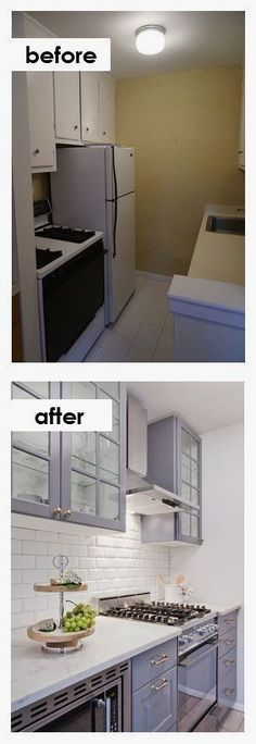 Small Kitchen Ideas: DIY Tiny Kitchen Remodel results before and after. Great ideas for a tiny kitchen makeover on a budget! #KitchenRemodeling #kitchenremodelingonabudgetbeforeandafter