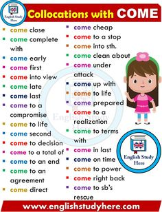 English Collocations with COME Learning English For Kids, Teaching English Grammar, English Writing Skills, English Language Learning, English Lessons, Good Vocabulary, English Vocabulary Words, Learn English Words, English Study